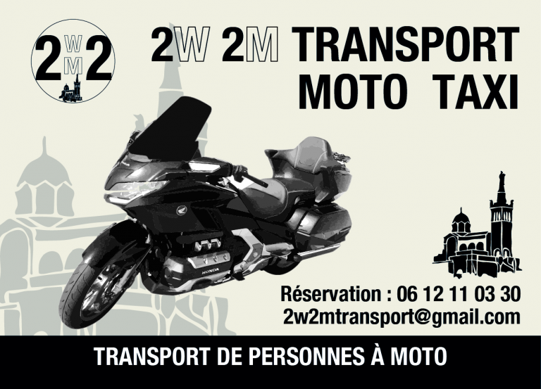 Flyer de presentation 2W 2M TRANSPORT moto taxi sur Marseille